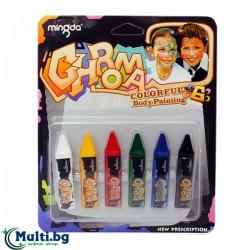 Пастели за рисуване по лице и тяло 6 цвята