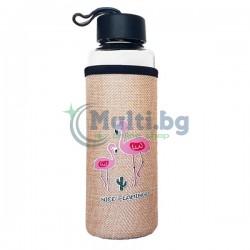 Стъклена бутилка с неопренов калъф Nice Flamingo