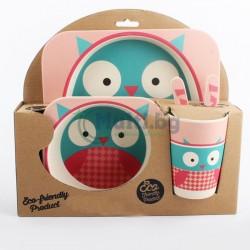 Бамбуков детски ЕКО комплект за хранене Бухалче
