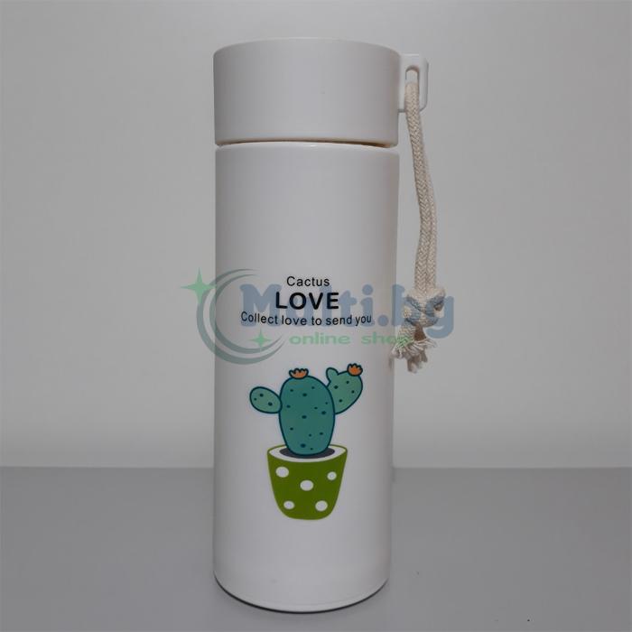 Стъклена бутилка за вода Кактус 400 мл