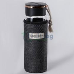 Стъклена бутилка за вода с неопренов калъф Revolution 400 мл
