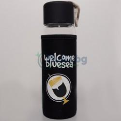Стъклена бутилка с неопренов калъф Welcome Blue Sea 400 мл