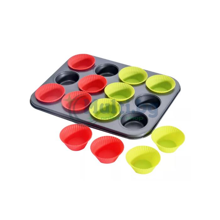 Тава за мъфини с 12 бр. силиконови форми