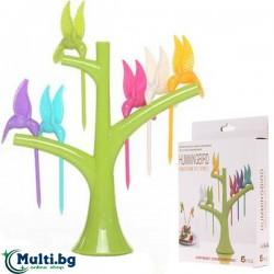 Сет Клечки Птички за Плодове и Хапки с Поставка Дърво Hummingbird