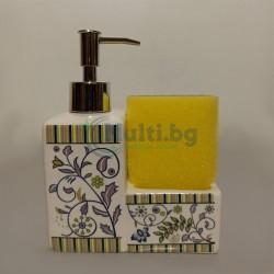 Керамичен дозатор за течен сапун с поставка за гъба